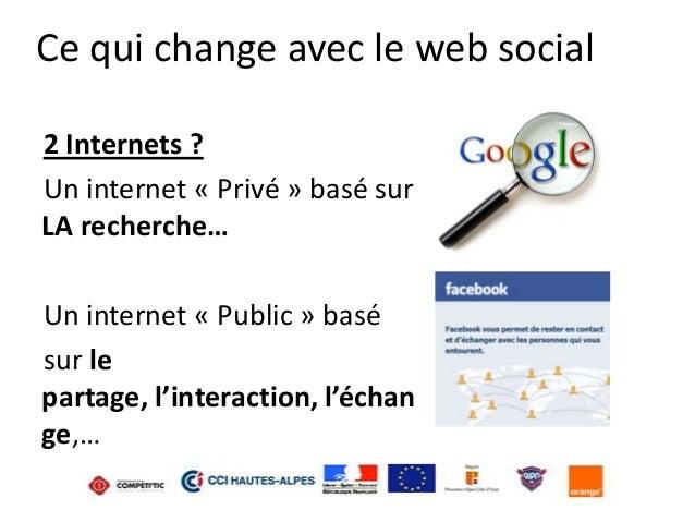Ce qui change avec le web social 2 Internets ? Un internet « Privé » basé sur LA recherche…  Un internet « Public » basé s...