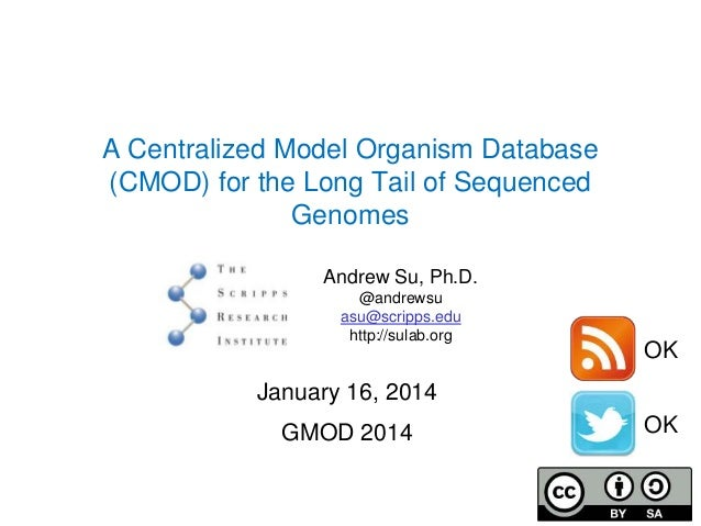 A Centralized Model Organism Database (CMOD) for the Long Tail of Sequenced Genomes Andrew Su, Ph.D. @andrewsu asu@scripps...