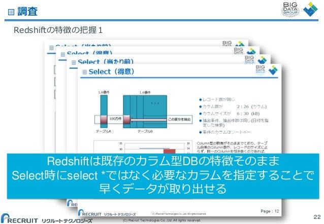 調査 Redshiftの特徴の把握1  Redshiftは既存のカラム型DBの特徴そのまま Select時にselect *ではなく必要なカラムを指定することで 早くデータが取り出せる (C) Recruit Technologies Co.,...