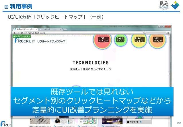 利用事例 UI/UX分析「クリックヒートマップ」(一例)  既存ツールでは見れない セグメント別のクリックヒートマップなどから 定量的にUI改善プランニングを実施 (C) Recruit Technologies Co.,Ltd. All ri...