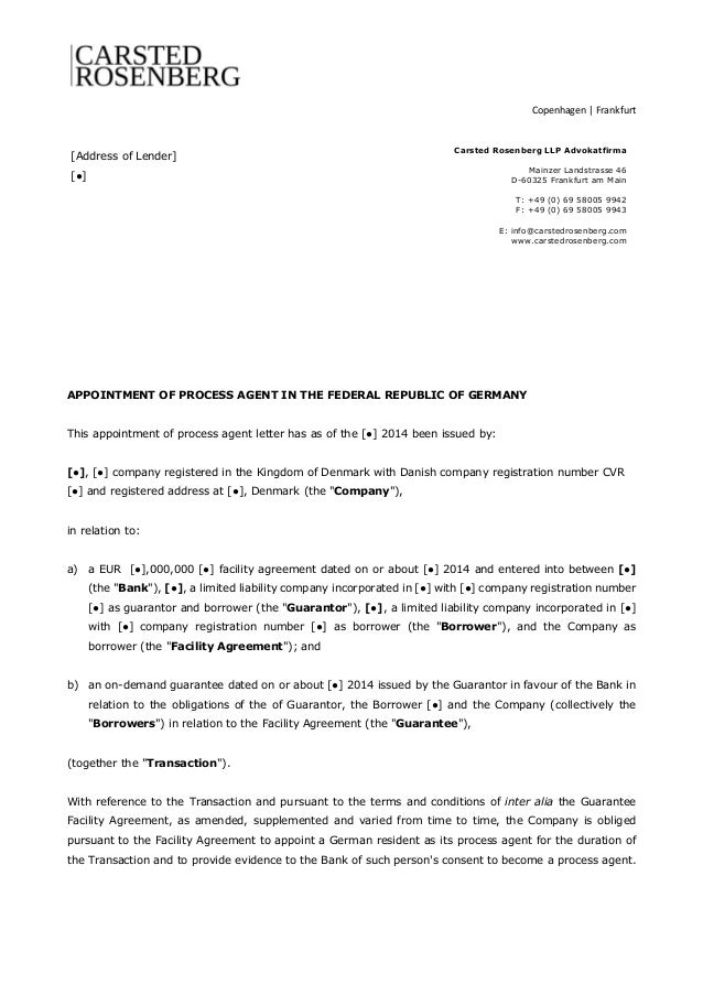 letter appointing an agent template appointment of process in germany carsted 9981