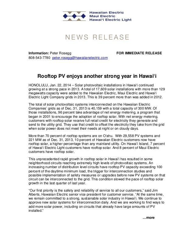 Information: Peter Rosegg 808-543-7780 peter.rosegg@hawaiianelectric.com  FOR IMMEDIATE RELEASE  Rooftop PV enjoys another...