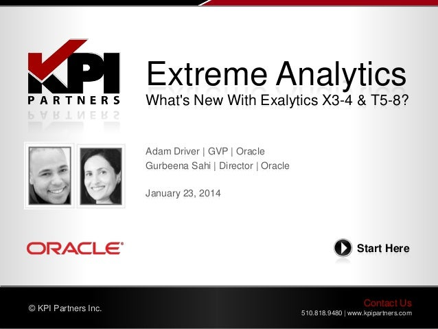 Extreme Analytics What's New With Exalytics X3-4 & T5-8?  Adam Driver | GVP | Oracle Gurbeena Sahi | Director | Oracle Jan...