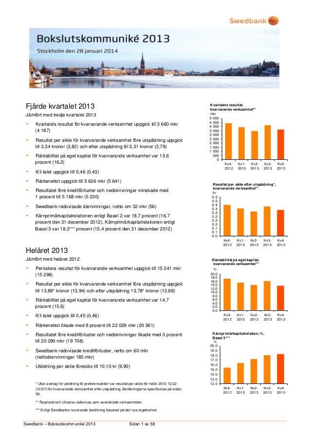 Fjärde kvartalet 2013 Jämfört med tredje kvartalet 2013    Kvartalets resultat för kvarvarande verksamhet uppgick till 3 ...