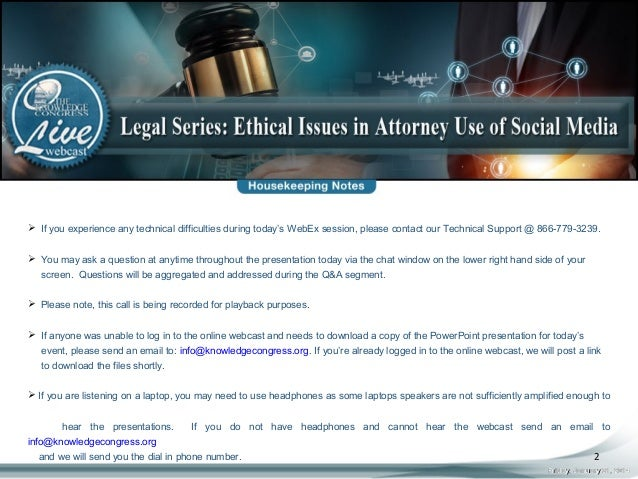Legal Series: Ethical Issues in Attorney Use of Social Media LIVE Web…