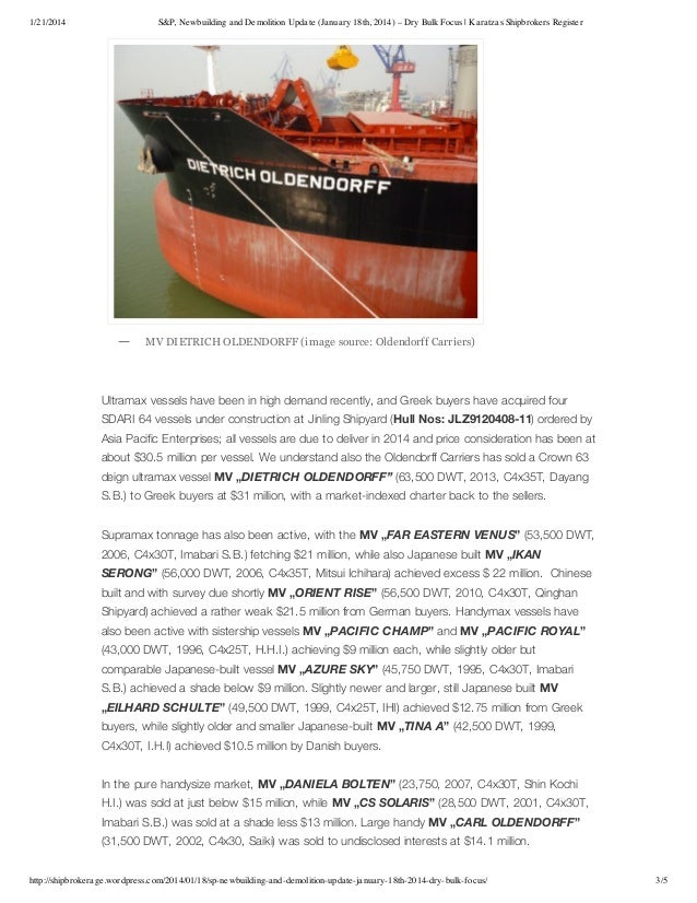 Dry Bulk Market - Sale & Purchase of shipping assets update