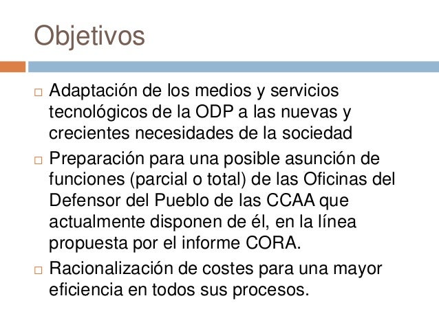 2014 01 proyecto de modernizaci n del sistema de for Oficina del defensor del pueblo