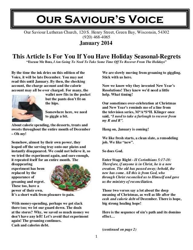 Our Saviour's Voice Our Saviour Lutheran Church, 120 S. Henry Street, Green Bay, Wisconsin, 54302 (920) 468-4065  January ...