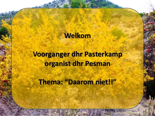 "Welkom Voorganger dhr Pasterkamp organist dhr Pesman Thema: ""Daarom niet!!"""