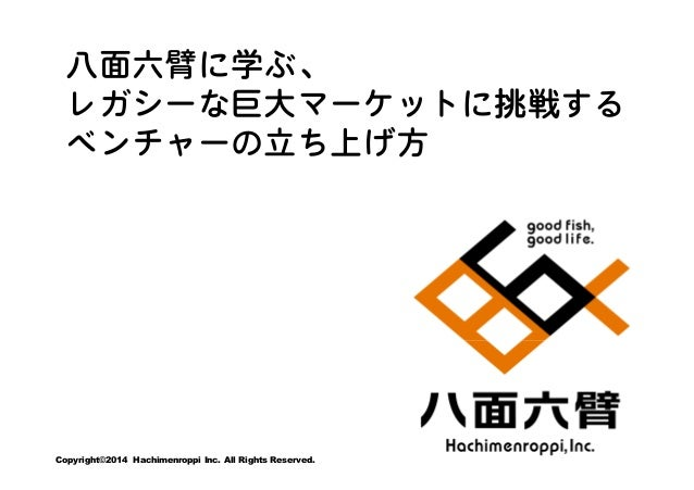 八面六臂に学ぶ、 レガシーな巨大マーケットに挑戦する ベンチャーの立ち上げ方  Copyright©2014 Hachimenroppi Inc. All Rights Reserved.
