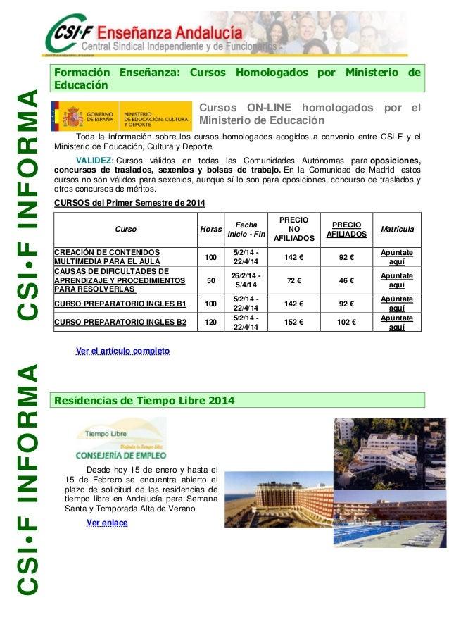 20140203 csif novedades semana for Csif ensenanza exterior