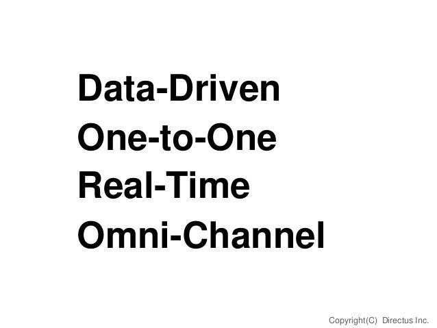 Data-Driven One-to-One Real-Time Omni-Channel Copyright(C) Directus Inc.