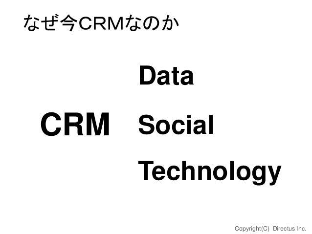なぜ今CRMなのか  Data  CRM Social Technology Copyright(C) Directus Inc.