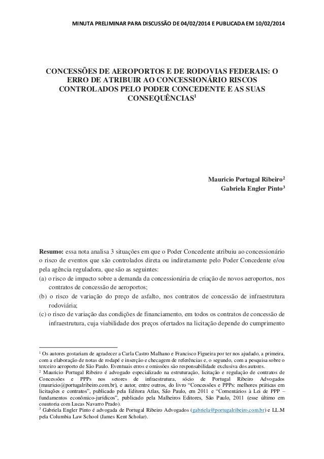 MINUTA PRELIMINAR PARA DISCUSSÃO DE 04/02/2014 E PUBLICADA EM 10/02/2014  CONCESSÕES DE AEROPORTOS E DE RODOVIAS FEDERAIS:...