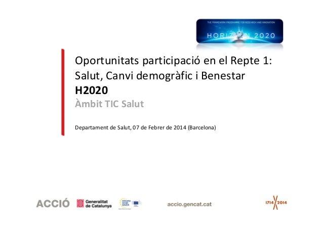 Oportunitats participació en el Repte 1: Salut, Canvi demogràfic i Benestar H2020 Àmbit TIC Salut Departament de Salut, 07...