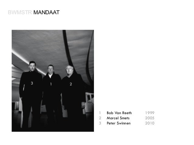 BWMSTR MANDAAT  3  1  2  1 2 3  Bob Van Reeth Marcel Smets Peter Swinnen  1999 2005 2010