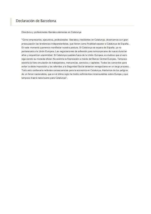 """Declaración de Barcelona Directivos y profesionales liberales alemanes en Catalunya """"Como empresarios, ejecutivos, profesi..."""