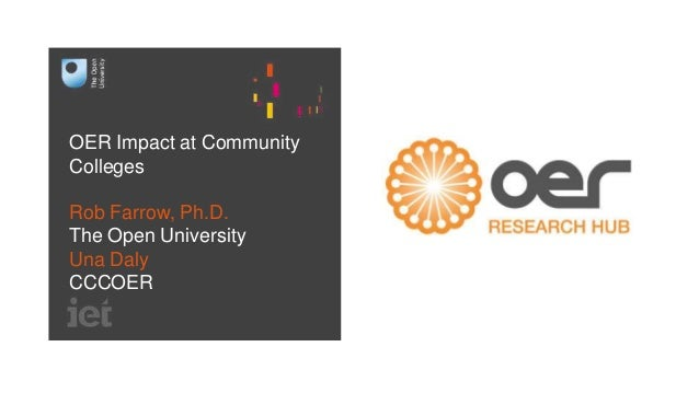 OER Impact at Community Colleges Rob Farrow, Ph.D. The Open University Una Daly CCCOER