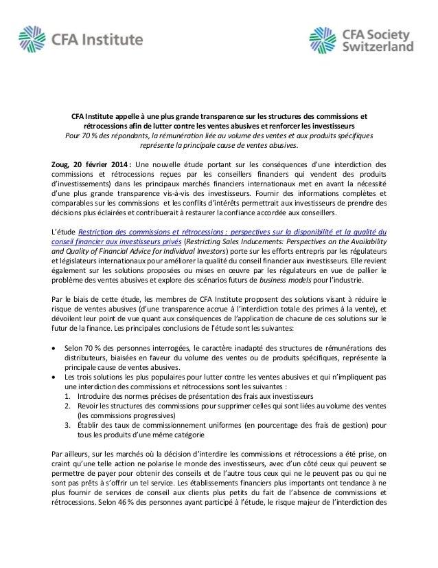 CFA Institute appelle à une plus grande transparence sur les structures des commissions et rétrocessions afin de lutter co...