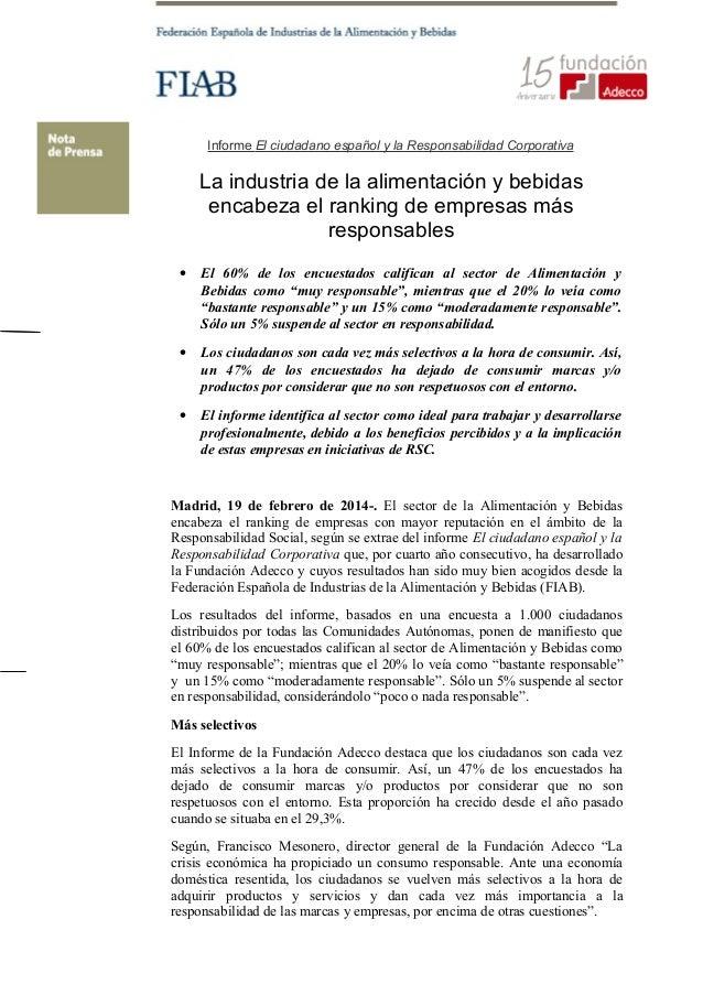 Informe El ciudadano español y la Responsabilidad Corporativa  La industria de la alimentación y bebidas encabeza el ranki...