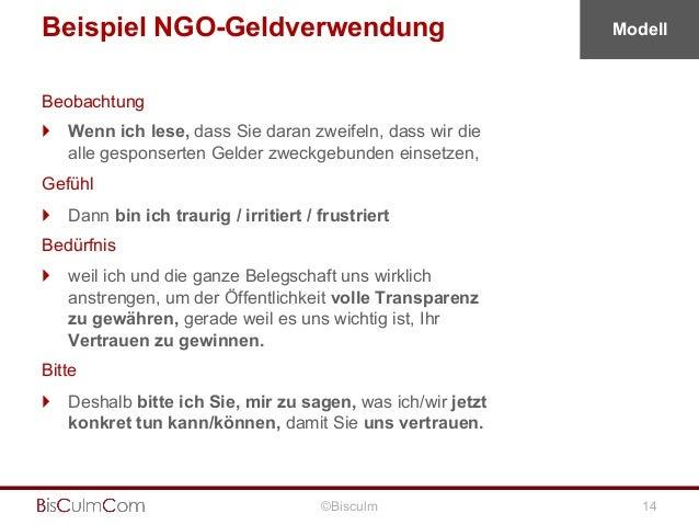 Beispiel NGO-Geldverwendung  Modell  Beobachtung } Wenn ich lese, dass Sie daran zweifeln, dass wir die alle gesponserte...