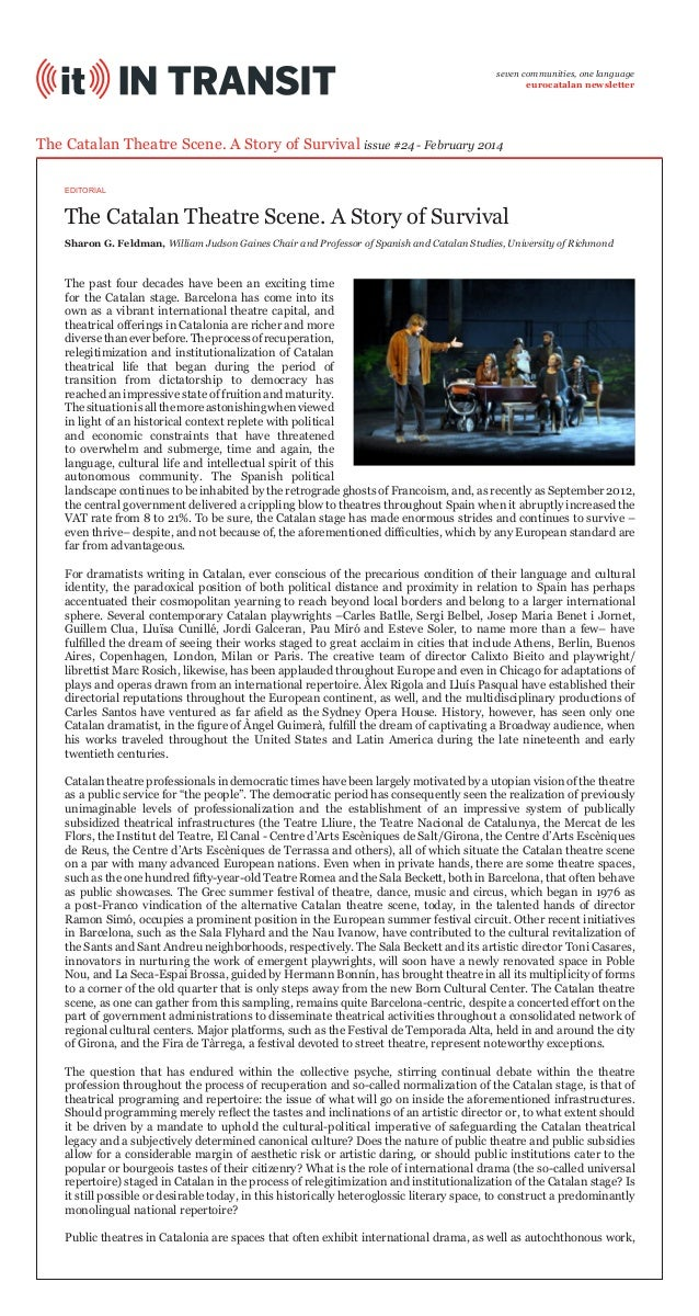 seven communities, one language eurocatalan newsletter  The Catalan Theatre Scene. A Story of Survival issue #24 - Februar...