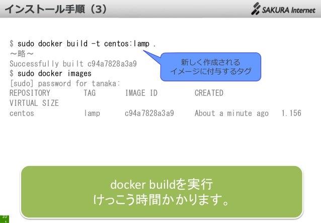 $ sudo docker build -t centos:lamp . ~略~ 新しく作成される Successfully built c94a7828a3a9 イメージに付与するタグ $ sudo docker images [sudo] ...