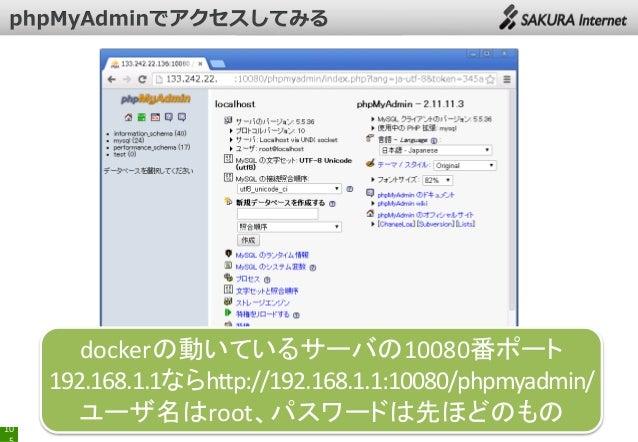 dockerの動いているサーバの10080番ポート 192.168.1.1ならhttp://192.168.1.1:10080/phpmyadmin/ ユーザ名はroot、パスワードは先ほどのもの 10
