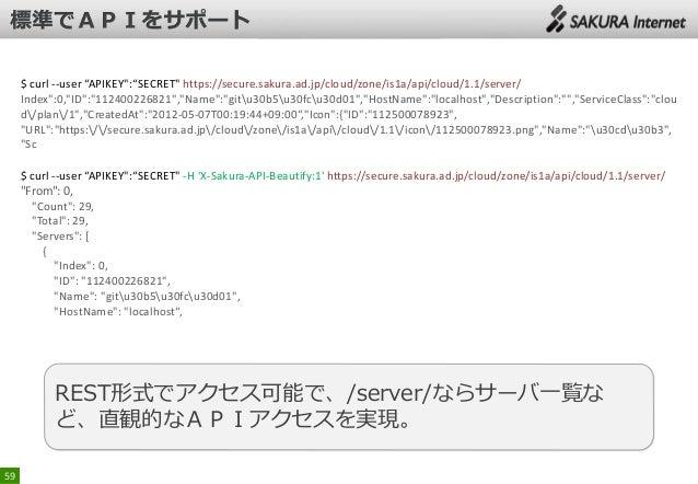 "$ curl --user ""APIKEY"":""SECRET"" https://secure.sakura.ad.jp/cloud/zone/is1a/api/cloud/1.1/server/ Index"":0,""ID"":""112400226..."