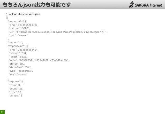 "$ sacloud show server --json [{ ""requestInfo"": { ""time"": 1393585261726, ""method"": ""GET"", ""url"": ""https://secure.sakura.ad...."