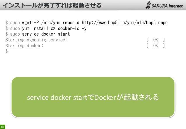 $ sudo wget -P /etc/yum.repos.d http://www.hop5.in/yum/el6/hop5.repo $ sudo yum install xz docker-io -y $ sudo service doc...