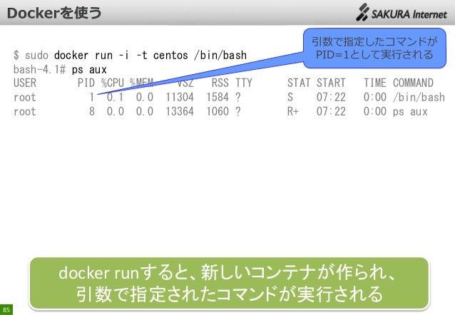 $ sudo docker run –i –t centos /bin/bash bash-4.1# ps aux USER PID %CPU %MEM VSZ RSS TTY root 1 0.1 0.0 11304 1584 ? root ...