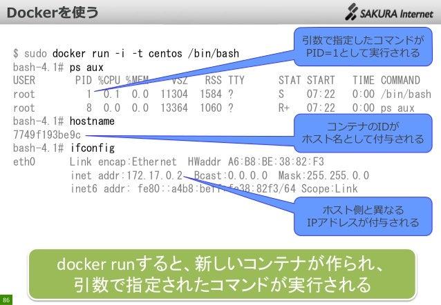 引数で指定したコマンドが PID=1として実行される  $ sudo docker run –i –t centos /bin/bash bash-4.1# ps aux USER PID %CPU %MEM VSZ RSS TTY STAT ...