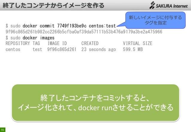 新しいイメージに付与する タグを指定  $ sudo docker commit 7749f193be9c centos:test 9f96c865d261b982cc2266b5cfba0af39da57111b53b476a9179a3be...