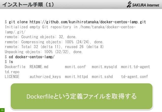 $ git clone https://github.com/kunihirotanaka/docker-centos-lamp.git Initialized empty Git repository in /home/tanaka/dock...