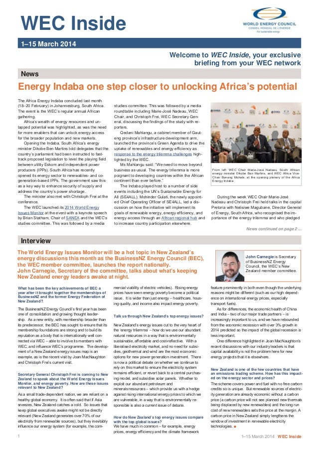 WEC Inside   1–15 March 2014 Welcome to WEC Inside, your exclusive briefing from your WEC network News The Africa...