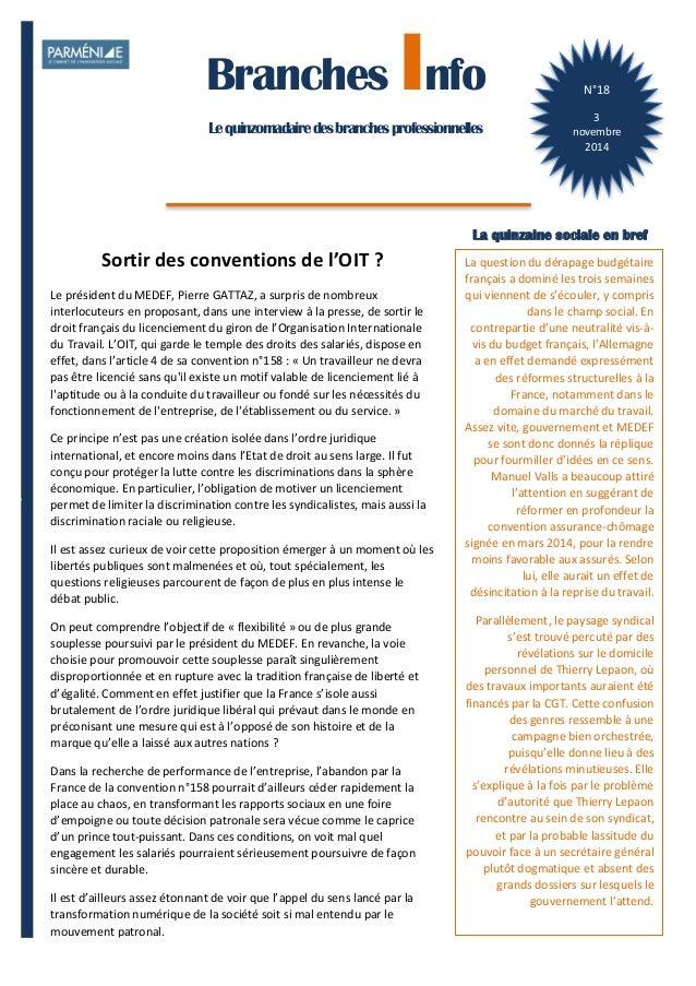 1  Branches Info est une publication de Parménide  Branches Info  Le quinzomadaire des branches professionnelles  N°18  3 ...