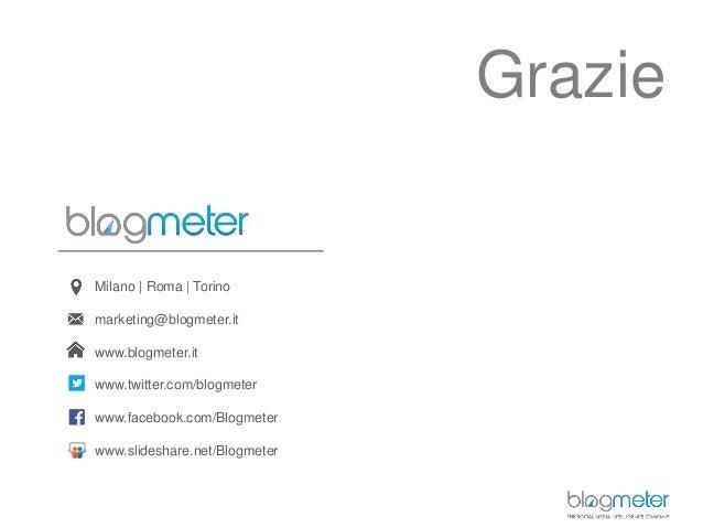 Milano   Roma   Torino marketing@blogmeter.it www.blogmeter.it www.twitter.com/blogmeter www.facebook.com/Blogmeter www.sl...