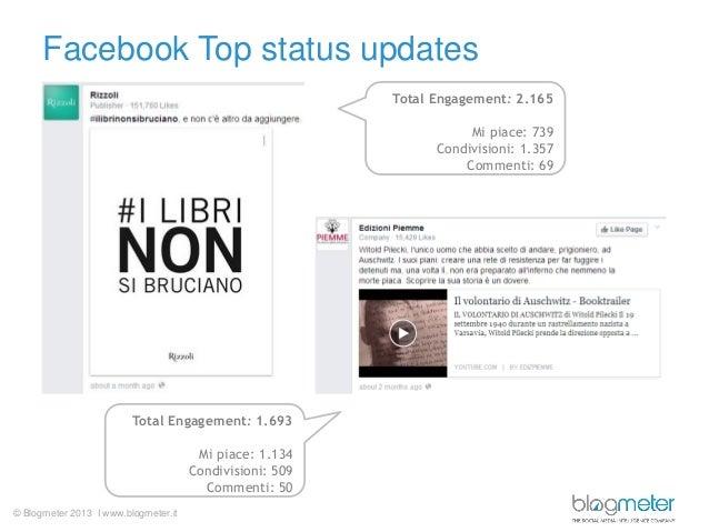 © Blogmeter 2013 I www.blogmeter.it Facebook Top status updates Total Engagement: 2.165 Mi piace: 739 Condivisioni: 1.357 ...