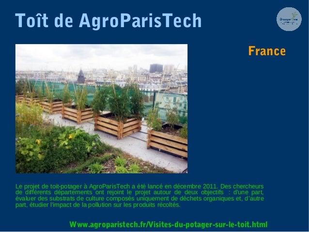 Toît de AgroParisTech Le projet de toit-potager à AgroParisTech a été lancé en décembre 2011. Des chercheurs de différents...