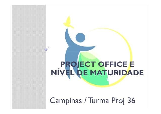 PROJECT OFFICE E NÍVEL DE MATURIDADE Campinas / Turma Proj 36