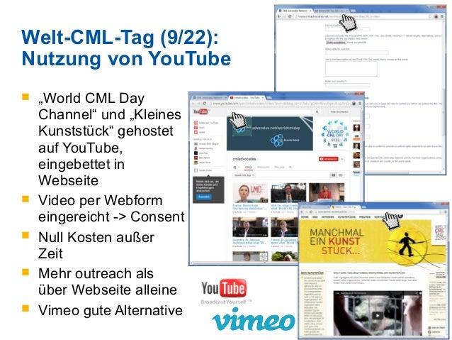 """Welt-CML-Tag (9/22): Nutzung von YouTube  """"World CML Day Channel"""" und """"Kleines Kunststück"""" gehostet auf YouTube, eingebet..."""