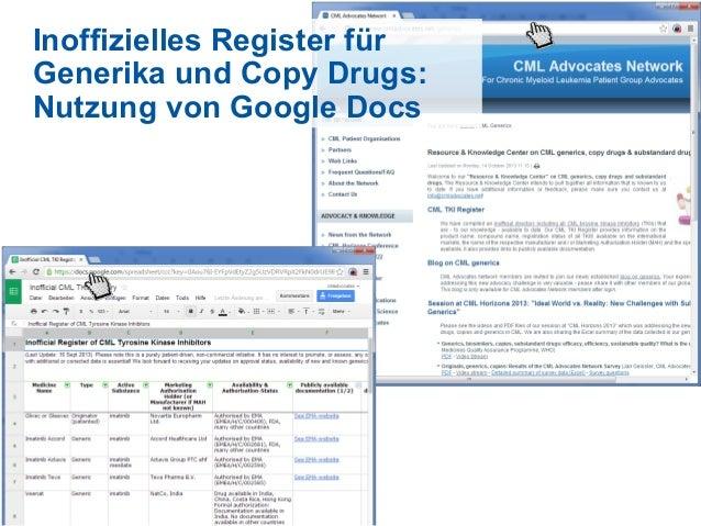 Inoffizielles Register für Generika und Copy Drugs: Nutzung von Google Docs