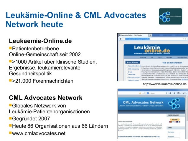 Leukämie-Online & CML Advocates Network heute Leukaemie-Online.de Patientenbetriebene Online-Gemeinschaft seit 2002 >100...