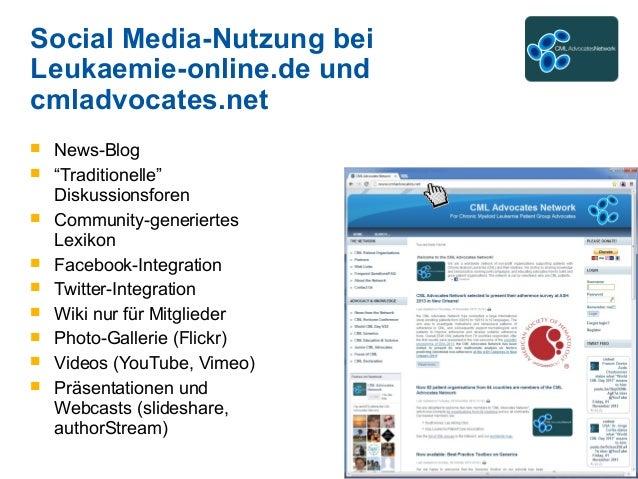 """Social Media-Nutzung bei Leukaemie-online.de und cmladvocates.net  News-Blog  """"Traditionelle"""" Diskussionsforen  Communi..."""