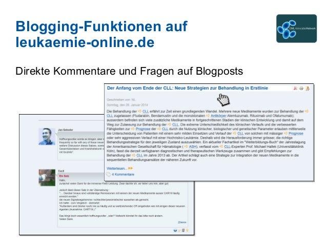 Blogging-Funktionen auf leukaemie-online.de Direkte Kommentare und Fragen auf Blogposts