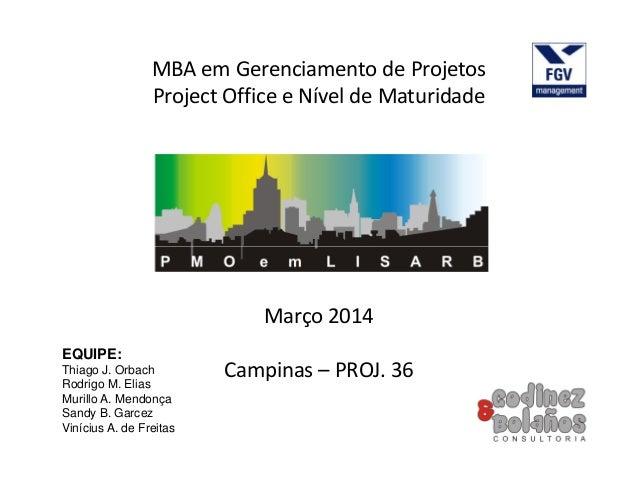 MBA em Gerenciamento de Projetos Project Office e Nível de Maturidade EQUIPE: Thiago J. Orbach Rodrigo M. Elias Murillo A....