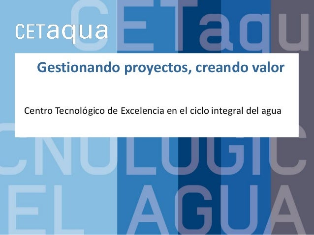 Gestionando proyectos, creando valor Centro Tecnológico de Excelencia en el ciclo integral del agua