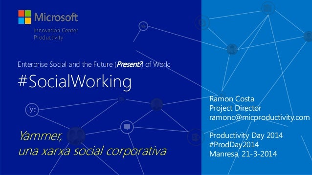 Ramon Costa Project Director ramonc@micproductivity.com Productivity Day 2014 #ProdDay2014 Manresa, 21-3-2014 #SocialWorki...