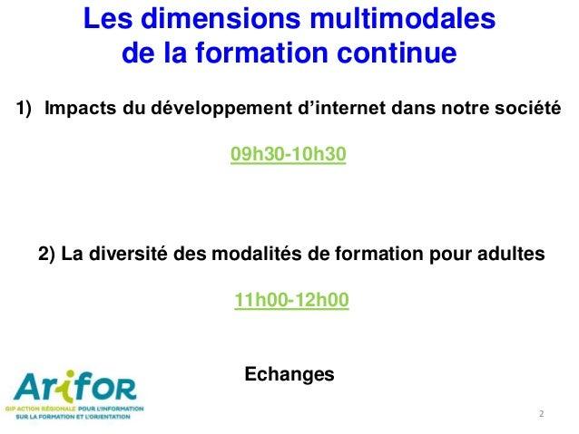 2) La diversité des modalités de formation pour adultes 11h00-12h00 1) Impacts du développement d'internet dans notre soci...